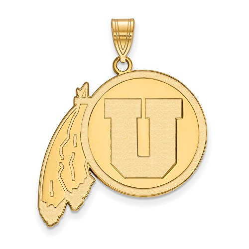 10k Yellow Gold LogoArt Official Licensed Collegiate University of Utah (UofU) XL Pendant by Logo Art