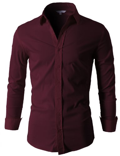 H2h mens basic dress shirts slim fit long sleeve various for Wine colored mens dress shirts