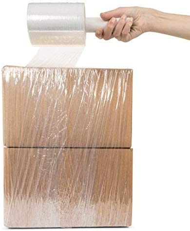 Clear Plastic Pallet Shrink Film 1 Pack Stretch Wrap 5 x 1000 Roll 80 Gauge Extra Thick Durable Self-Adhering Plastic Wrap for Moving Packing Wrap Industrial Strength 4 Large Rolls