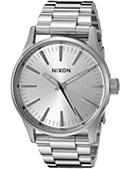 Nixon Mens A4501920 Sentry 38 SS Analog Display Analog Quartz Silver Watch
