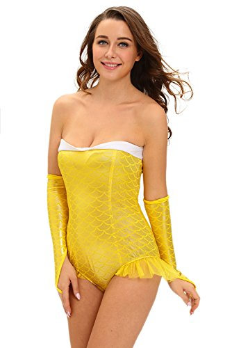 Dear-Lover Sexy Glittering Mermaid Romper Costume Yellow Adult Sexy Lingerie (M) ()