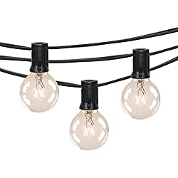 50FT Outdoor Patio String Lights with 50 Clear Globe G40 Bulbs, UL Certified for Indoor/Outdoor Patio Backyard Pool Pergola Market Cafe Porch Garden Marquee Letter Decor