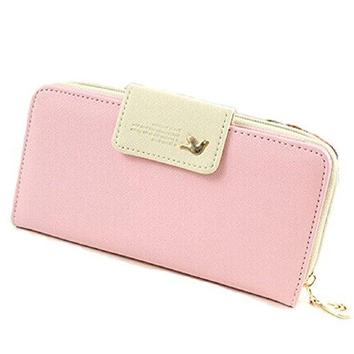 Bocideal Mode 1PC Vögel Muster langer Reißverschluss Handtasche Leder Geldbörse (Rosa)