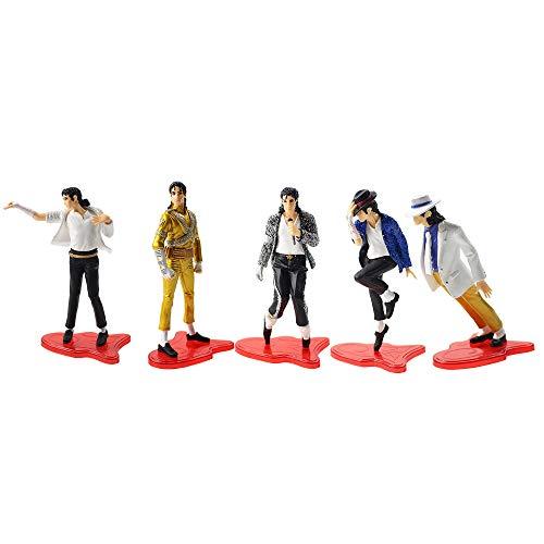 11cm 5pcs/lot Michael Jackson PVC Action Figure Model Toy with red Base Cool Super Star Michael Jackson