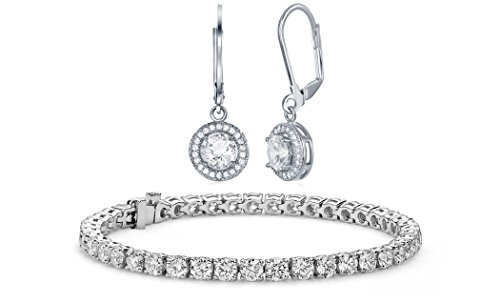 - NYC Sterling Halo Drop Earrings and Tennis Bracelet Bridal Gift Set (Round Cut)