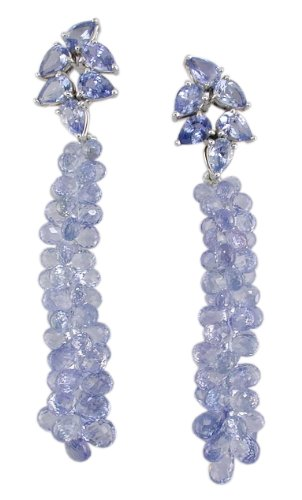 18KW Sapphire Pear with Sapphire Briolette Cascade Earrings