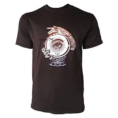 SINUS ART ® Magische Kristallkugel mit Henna Händen Herren T-Shirts in Schokolade braun Fun Shirt mit tollen Aufdruck