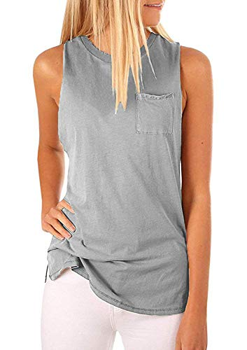 Hount Womens Sleeveless Tee Shirts Cotton Sleeveless Blouse Tops (Gray, S)