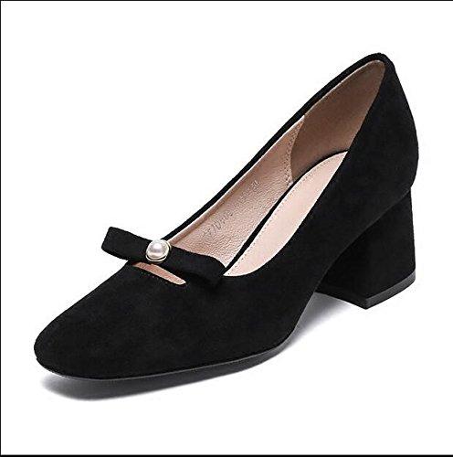 Xue Qiqi Zapatos de la Corte Cabeza Cuadrada con Mariposa Boca Baja Salvaje Grueso con Solo Zapatos Tacones Altos, 37, Negro 37|negro