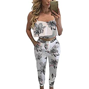 FANCYINN Women 2 Pieces Jumpsuit Romper Spaghetti Strap Top and Long Pants Casual Style