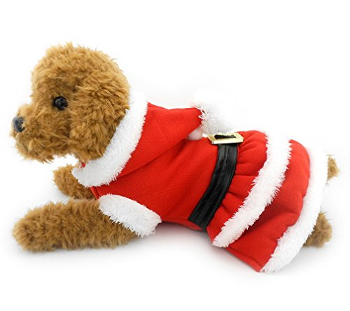 Ranphy Yorkie Clothes Dog Christmas Sweater Santa Dog Dress Coat Doggy Costume Hooded Dress Belt Decorated Winter Hoodies for Dogs Red (Pomeranians Dressed Up For Halloween)