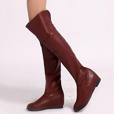Women's Shoes PU Leatherette Fall Winter Comfort Novelty Fashion Boots Boots Flat Heel Round Toe Over The Knee Boots For Party & Evening Black fRzwNq