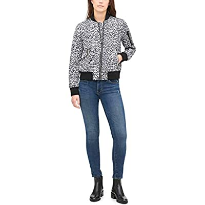 Levi's Women's Poly Bomber Jacket with Contrast Zipper Pockets: Clothing