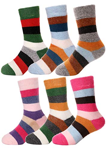 Girls Boys Wool Socks Thick Warm Thermal For Kid Child Toddlers Cotton Winter Crew Socks 6 Pairs (8-12 Y, Stripe) (Cold Weather Socks For Girls)