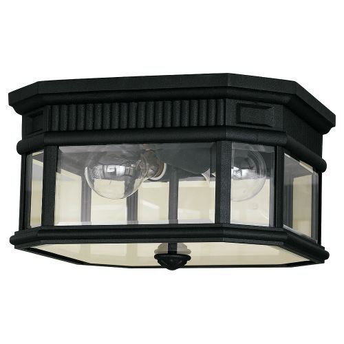 Lane Cotswold Pendant Outdoor (Feiss OL5413BK-LED Cotswold Lane LED Outdoor Flush Mount, 2-Light, 28watts, Black (12