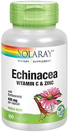 Solaray Echinacea w Vitamin C Zinc 850mg – Immune System Support – W Bioflavonoids- Non-GMO – 100 VegCaps, 50 Serv