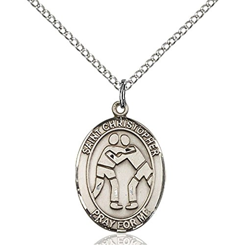 Sterling Silver St. Christopher/Wrestling Pendant 3/4 x 1/2 inches with Sterling Silver Lite Curb Chain by Bonyak Jewelry