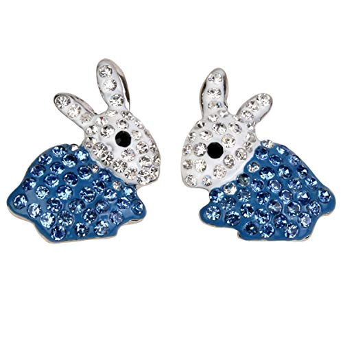 Hiddleston Bunny Ears Stud Crystal Earrings Blue Silver Rabbit Baby Charms with Tail Easter Gift for Women Teen Girl Kid -