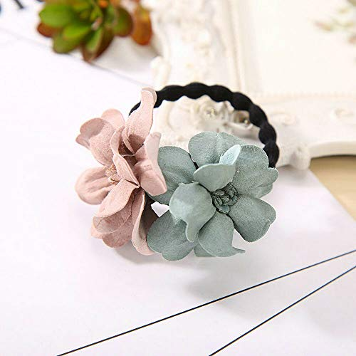 MOPOLIS Elastic Hair Ring Flower Hair Rubber Rope Bands Cloth Headbands Hair Accessories   Color - Green+Pink