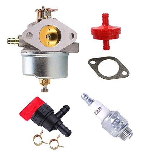 Podoy 632334A Carburetor with Spark Plug Fuel Filter Kit For Tecumseh 632334 632111 7hp 8hp 9hp HM70 HM80 HMSK80 HMSK90 Replaces 38080 824 Oregon 50-642 Blower
