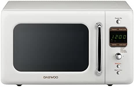 Daewoo Retro Microwave Oven 0.7 Cu Ft, Creme White 700W