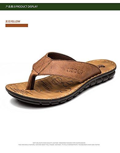 Uomini Uomini Donne Sandali Scarpe da spiaggia di pelle di pelo Uomini Dermas Pantofole Uomini, Giallo, UK = 9, EU = 43 1/3
