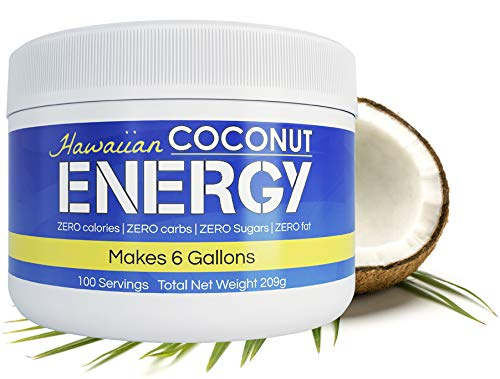 Hawaiian Coconut Water Energy Drink Powder, 100 Servings, Clean Instant Coconut Drink - Just add water, Non GMO Vegan Gluten Free