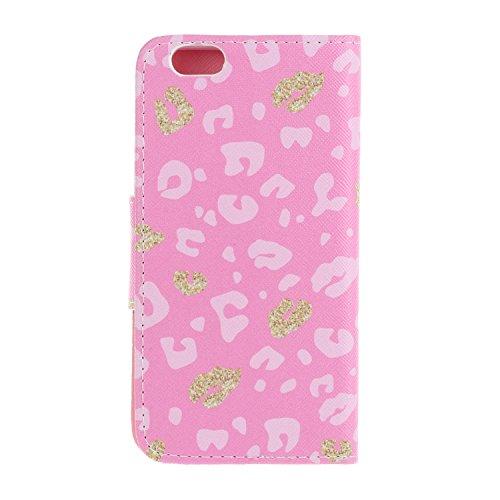 Caja de Teléfono para Apple iPhone 6 Plus (5.5 pulgadas) Funda LuckyW Casa Flip Folio Funda Bookstyle Funda Flexible Ligera Duradera con Función de Soporte Ranuras de Tarjeta Soporte de Identificación Leopardo rosa