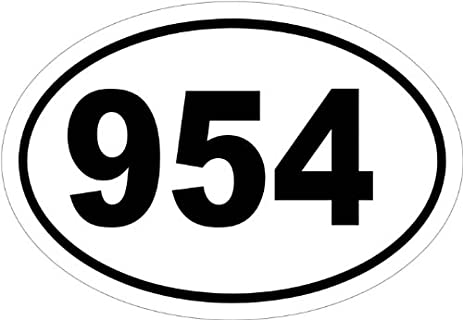 Amazoncom Area Code In An Oval Vinyl Car Decal Black - 954 area code