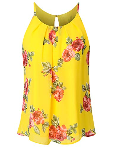 JSCEND Women's Round Neck Pleated Double Layered Chiffon Cami Tank Top F-YELLOWRED S