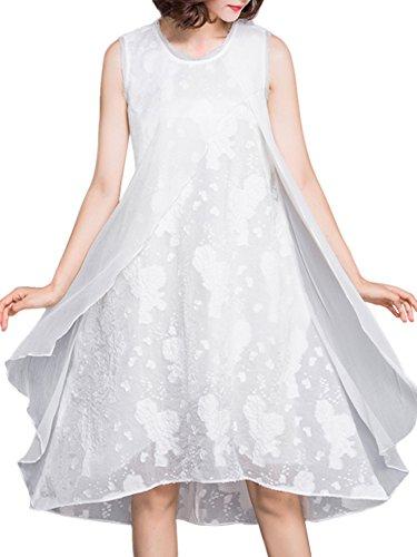 Donne Maniche Vestito Bianco Eleganti Jacquard Di Senza Fiori Lino Massimo Minimo wqxzgqUX