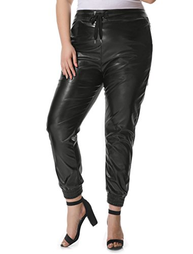 Orinda Womens Drawstring Leather Jogger
