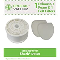 Replacement for Shark NV400 HEPA Style, Foam & Felt Filters Fit NV400, Compatible With Part # XFF400 & XHF400, by Think Crucial