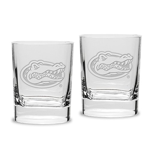 NCAA Florida Gators Adult Set of 2 - 14 oz Square Double Old Fashion Glasses Deep Etched Engraved, One Size, Clear (Square Florida Gators)