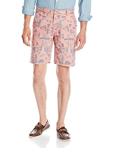 Reyn Spooner Men's Cotton Flat Front Chino Walk Short Reversible, Dark Pink, 34