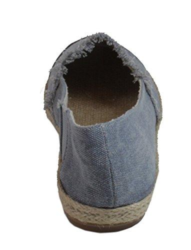 Aldeno - Damen einfarbige Slipper Espadrilles Halbschuhe Baumwolle Frühling Sommer 36 37 38 39 40 41 Blau