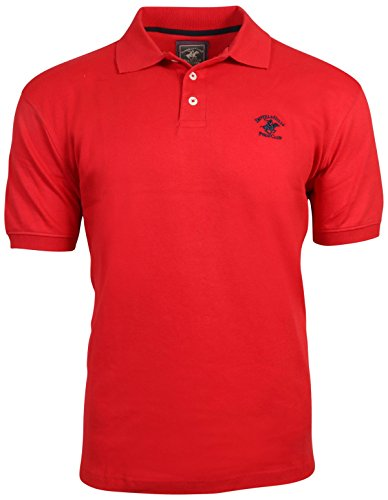 Beverly Hills Polo Club Men\'s Soft Touch Knit Polo with Horse Logo, Red, Medium'