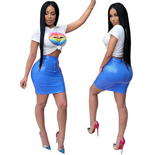 Party Qikaka Outfit Femmes 2 Cuir Robe Moulante Mouth Tops Pices En PU Crop Clubwear Bleu Ensemble Jupes Imprim Big TOfTr