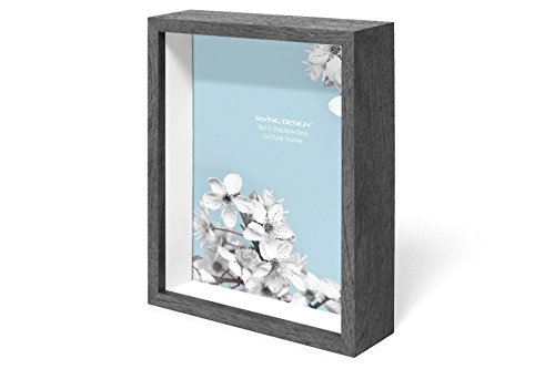 Swing Design Chroma Shadow Box Frame, 8 by 10-Inch, Charcoal Gray Deep Shadow Box