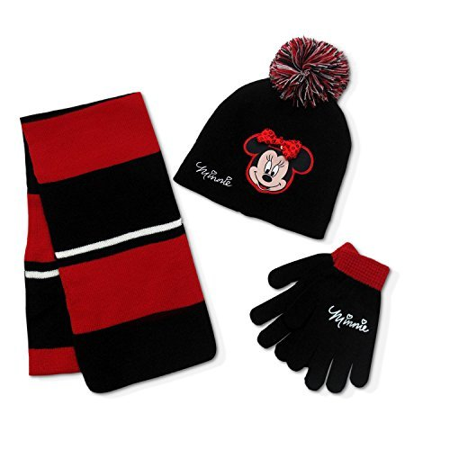 Disney Minnie Mouse Girls Hat Beanie Glove & Scarf Set Black Red by Disney
