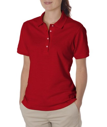 Jerzees womens 5.6 oz. 50/50 Jersey Polo with SpotShield(437W)-TRUE - Women Red Polo