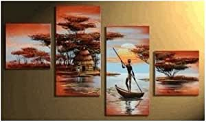 4 Pics African Grassland Lake Boating Large Modern Abstract 100% Hand Painted Oil Painting on Canvas Wall Art Deco Home Decoration (Unstretch No Frame)
