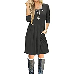 SouqFone Women's Pleated Loose Swing Casual T-Shirt Dress With Pockets Knee Length(3/4 Sleeve-Darkgray,L)