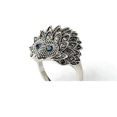 KKAHQA Vintage Hedgehog Punk Wind Ring Lady Personality Fashion Jewelry Anniversary Jewelry Attend Party Dress Up Ring silver blue 9 -