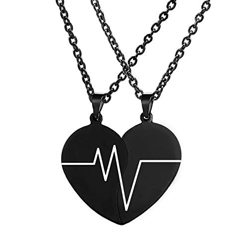 MJartoria Best Friend Necklaces BFF Necklace for 2 Friendship Valentines Day Gift Split Heart Weirdo 1 Weirdo 2 Best Friends Forever Pendant Set (Black, Y-Heartbeat-18 Inch)