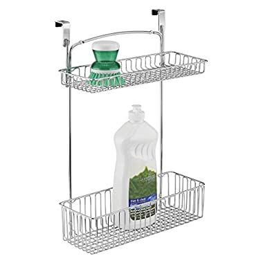mDesign Over the Cabinet or Wall Mount Kitchen Storage Organizer Basket for Aluminum Foil, Sponges, Cleaning Supplies - 2-Tier, Chrome