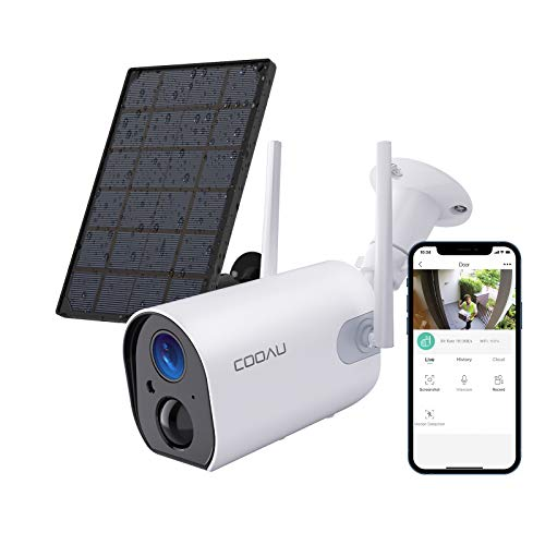 Wireless Solar Security Camera Outdoor, COOAU WiFi Rechargeable Battery Powered Home Cameras, 1080P Surveillance Camera with Night Vision, 2-Way Audio, IP65 Waterproof, Encrypted SD/Cloud Storage