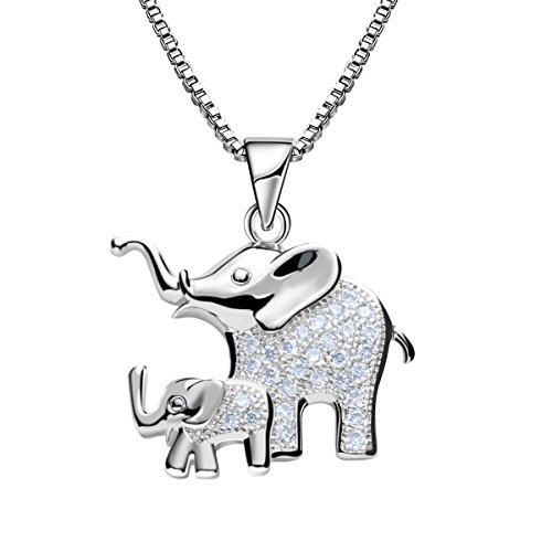 Mom and Baby Elephant Silver Animal Pendant Necklace