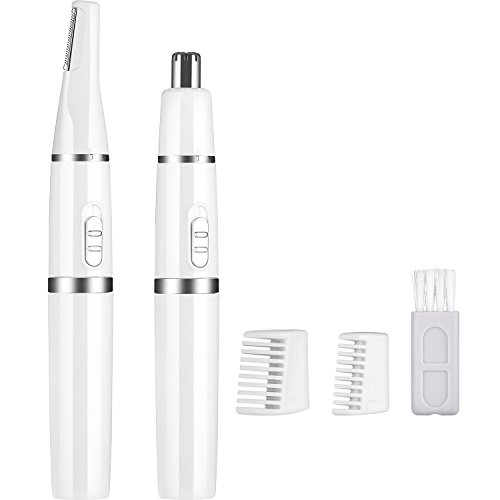 TecUnite Electric Eyebrows Shaver Trimmer 2-in-1 Nose Facial and Body Hair Removal Shaver Trimmer for Women and Men