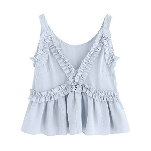 Sanyyanlsy Women's Fashion Floral Border Ruffled Tank Top Crop Top Spaghetti Strap V-Neck Shirt Low-Out Solid Color Vest Light Blue
